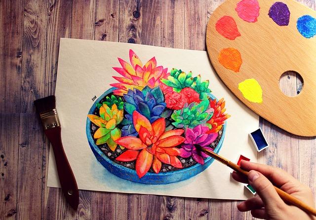 kreslené květiny a ruka